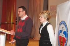 Торжественная часть. Иван Баранов (ТвГУ) и Валентина Дронова (зам. председателя Облизбиркома)